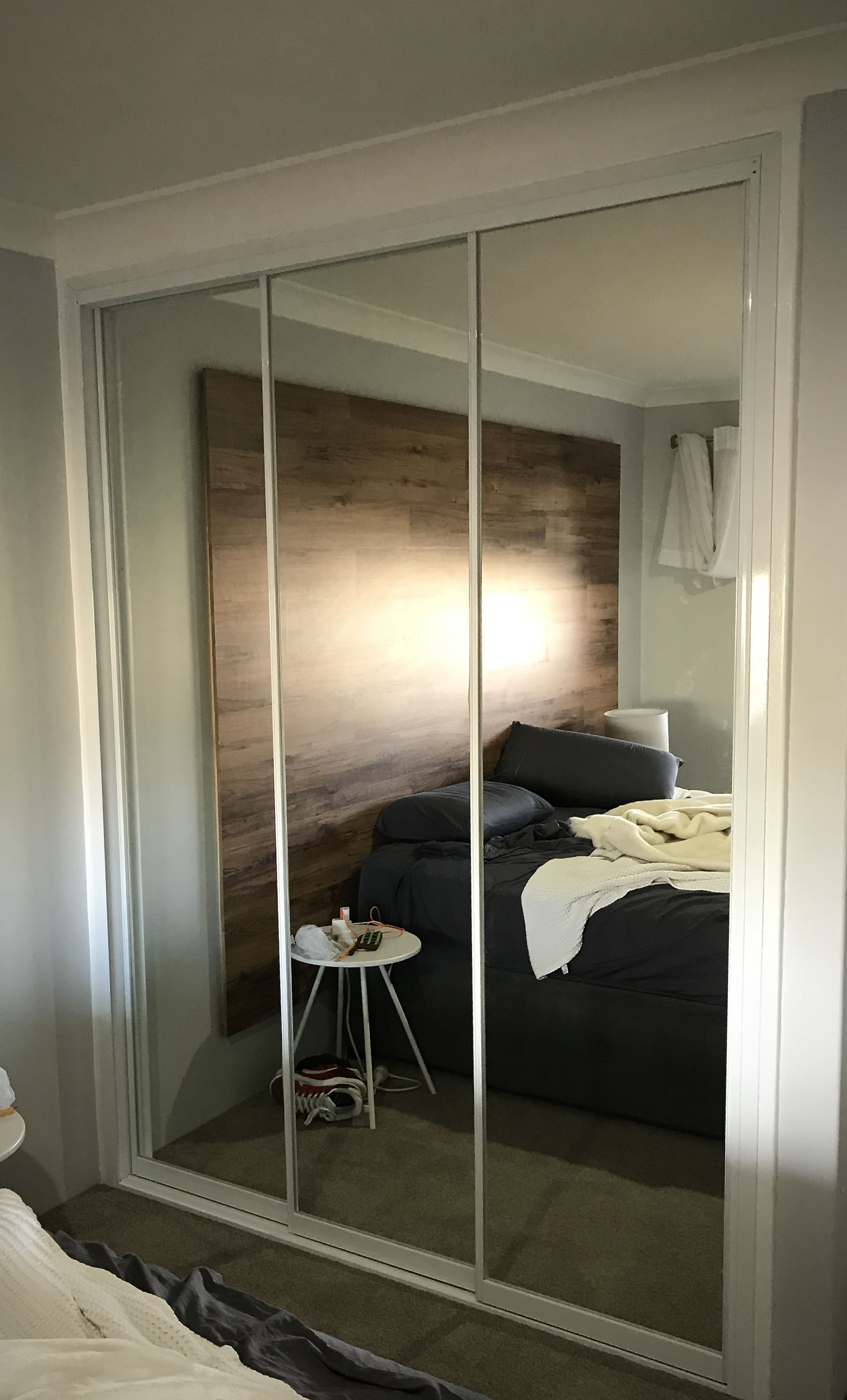 3 Door wardrobe door unit 3 mirrored doors in white frame