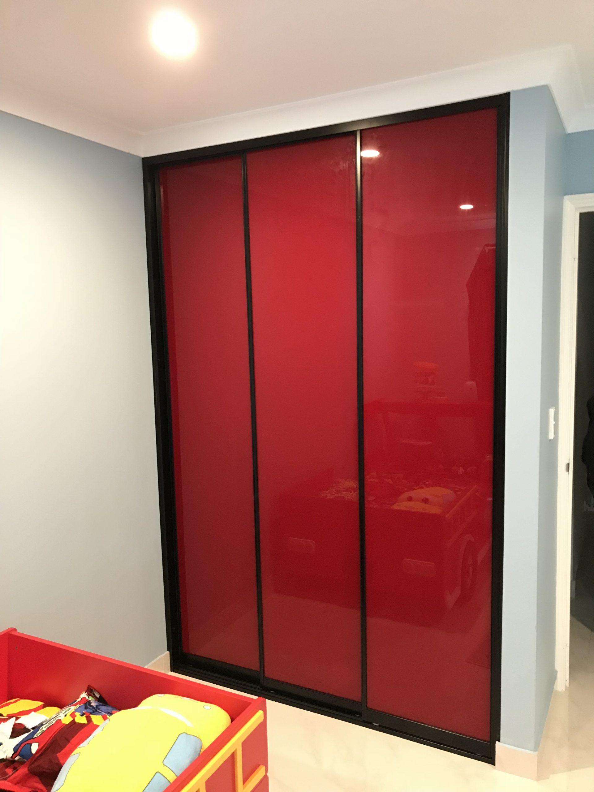 Red Glass Sliding Doors